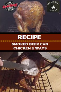 Smoked Beer Can Chicken Recipe 2 Ways Smoked Beer Can Chicken, Beer Butt Chicken, Smoked Chicken Recipes, Smoked Pulled Pork, Canned Chicken, Salami Recipes, Grilling Recipes, Pork Recipes, Chili Recipes