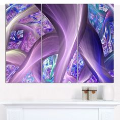 "Designart 'Purple Fractal Curves' Abstract Wall Art on Canvas - 3 Panels 36""x28"""
