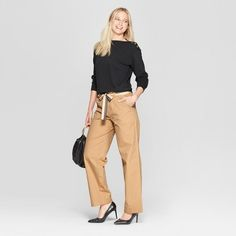 c006c1a6636 Women s Duo Front Pocket Straight Wide Leg Cargo Pants - Who What Wear Khaki  2