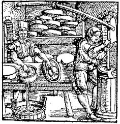 Making Cheese - I like how that chap's getting a hand with that churn from the branch overhead. Clever.