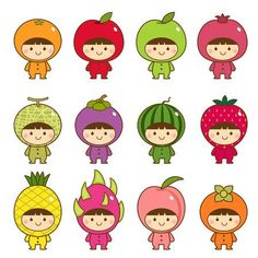 Illustration about Vector illustration set of kids in cute fruits costumes. Illustration of kids, childhood, dragonfruit - 69246381 Kawaii Doodles, Kawaii Art, Funny Drawings, Kawaii Drawings, Fruit Costumes, Fruits Drawing, Cute Fruit, Baby Fruit, Kawaii Illustration