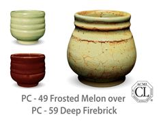 AMACO Potter's Choice layered glazes PC-59 Deep Firebrick and PC-49 Frosted Melon.
