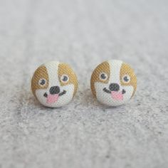 Corgi Fabric Covered Button Earrings