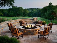 Resorts With the Sexiest Fire Pits | HGTV Patio Pergola, Pergola Design, Patio Design, Backyard Patio, Cheap Pergola, Wooden Pergola, Backyard Seating, Outdoor Seating, Flagstone Patio