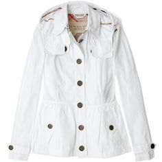 Burberry Brit Optic White Packaway Jacket ($162) ❤ liked on Polyvore featuring outerwear, jackets, burberry, tops, white hooded jacket, peplum jacket, button jacket and pocket jacket