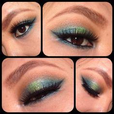 Blue and green eyeshadow look