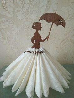 Napkin holder Girl with umbrella for 36 napkins. A beautiful napkin holder made in the shape of a girl. The holder provides decorative storage space for 36 nap Fairy garden party table Decor by FavorsByGirlybows on Etsy Diy And Crafts, Crafts For Kids, Paper Crafts, Basket Decoration, Table Decorations, Ostern Party, Wood Napkin Holder, Silverware Holder, Napkin Folding