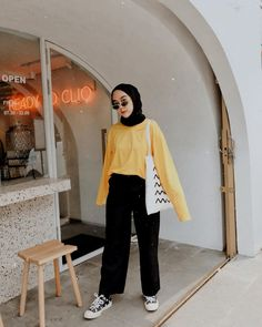 New Hijab Fashion: The image may contain: 1 person, standing # .The actual scarf is a vital piece Hijab Fashion Summer, Modern Hijab Fashion, Street Hijab Fashion, Hijab Fashion Inspiration, Muslim Fashion, Modest Fashion, Korean Fashion, Fashion Outfits, Casual Hijab Outfit