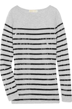 Michael Kors - Sequin-striped fine-jersey top