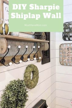This DIY Sharpie shiplap wall hack is so easy to do. Perfect farmhouse style shiplap in no time. Farmhouse Kitchen Decor, Farmhouse Style Decorating, White Farmhouse, Farmhouse Ideas, Easy Diy Crafts, Decor Crafts, Wall Decor Quotes, Ship Lap Walls, Black Decor