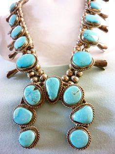 Classic Vintage Navajo Sterling Silver Squash Blossom Necklace w 17 Fabulous Blue Gem Turquoise Cabochons. Vivid Sky Blue Stones.