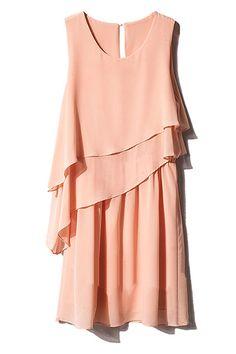 Double-layered Flouncing Pink Dress   $39.99  #romwe #fashion