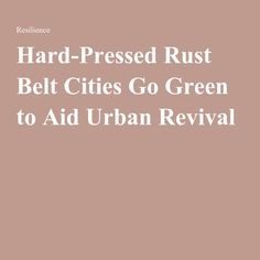 Hard-Pressed Rust Belt Cities Go Green to Aid Urban Revival