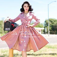 Retro Fashion Le Palais Vintage Retro Elegant Pink Full skirt Long Coat - Designed by Winny Vintage Style Dresses, Vintage Skirt, Vintage Outfits, Moda Vintage, Retro Vintage, Full Skirt Outfit, Dress Up, 1940s Fashion, Vintage Fashion