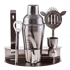 Cuisine Prefere Pro Stainless Steel Bartender Martini Shaker Cocktail Bar Tool Set with Strainer Corkscrew Bottle Opener Jigger Ice Tongs and Storage Rack. Perfect for the home bar.