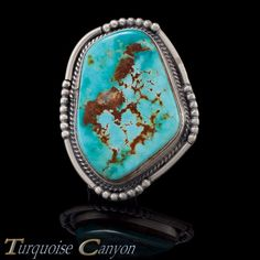 Navajo Native American Lander County Blue Gem Turquoise Ring Size 9