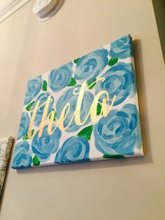 Kappa Alpha Theta sorority Lilly Pulitzer painting in blue lucky charms with gold calligraphy on canvas #sorority #kappaalphatheta #theta #lilly #lillypulitzer