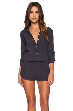 145d38c74b1c Shop for MONROW Crepe Long Sleeve Romper in Vintage Black at REVOLVE. Free  day shipping and returns