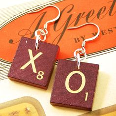 "For only $10.00 you can pick any two letters and soon have a possibly ""geeky"" but very cute pair of earrings. :) I like the X & O idea."