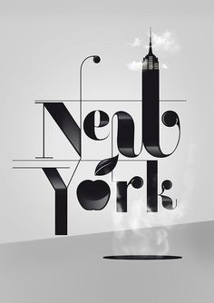The way the Empire State Building, an apple, and a steam hole(?) are all combined into the word New York.