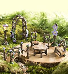 Miniature Fairy Garden Lavender Grove Set, 8 pieces | Miniature Fairy Gardens