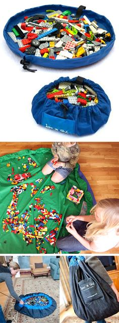 Lay-N-Go play toy mat // perfect for LEGO, just pull the cord to tidy it up and carry away! Genius, right?!