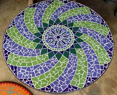 Moroccan style design in vibrant violet & greens. Mauve Marakech mosaic table in ceramic tiles by Brett Campbell Mosaics