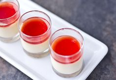 Mandarin & Vanilla Bean Panna Cotta with Blood Orange Gelee-- a Vintage Recipe Remake Other Recipes, Sweet Recipes, Yummy Snacks, Delicious Desserts, Just Desserts, Dessert Recipes, My Favorite Food, Favorite Recipes, Dessert Shooters