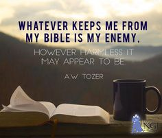 Whatever keeps me from my Bible is my Enemy. However harmless if may appear to be. ~A.W. Tozer