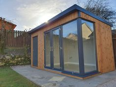 Insulated Garden Room & Studio With Store | Browns Garden Buildings Timber Roof, Roof Beam, Timber Cladding, Insulated Garden Room, Insulated Summer House, Summer Houses Uk, Painted Paneling Walls, Pavilion Grey, Apex Roof
