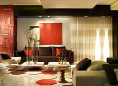 Red & Brown Living Room