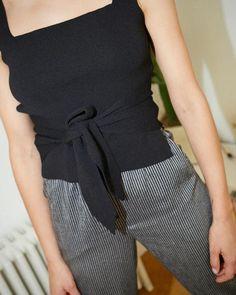 ORA - Tie detail top - Black – Nanushka