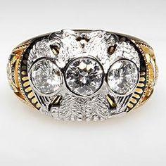 VINTAGE MENS MASONIC DOUBLE EAGLE DIAMOND RING SOLID 14K GOLD W/ ENAMEL