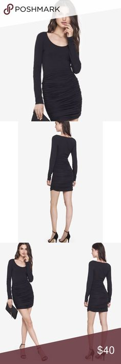 NEW ! EXPRESS Long Sleeve Ruched Sweater Dress NEW ! EXPRESS Long Sleeve Ruched Sweater Dress in Black . Slinky dress, in an awesome jersey material . Deep scoop neck, breathable material , & ruched skirt you can pull up or down depending on your mood! This dress runs big / has a lot of stretch in it , is extremely comfortable . Additionally , you can wear it to work & then throw on a red lip and run to happy hour with the ladies or on a date with a hottie Express Dresses Long Sleeve