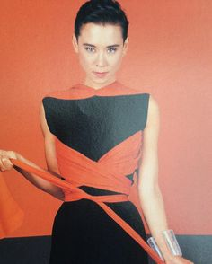 Tina Chow in a Vionnet gown from her own collection.  Photo by Robert Mapplethorpe.  Harpers & Queen, December 1987.
