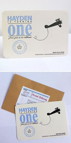 Letterpress First Birthday Invitations Boy