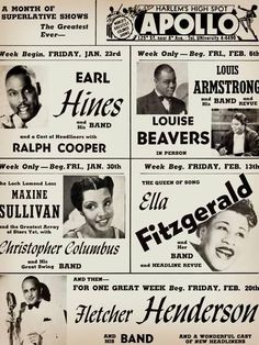 Apollo Theatre: Earl Hines, Louis Armstrong, Ella Fitzgerald, Fletcher Henderson and More Music Art Print - 30 x 41 cm Ella Fitzgerald, Louis Armstrong, Apollo Theater, Theatre, Most Popular People, Concert Posters, Music Posters, Tour Posters, Classic Jazz