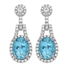 Spark Creations - E 22177-AQ 0.57 CT DIAMOND 2.94 CT AQUAMARINE EARRINGS
