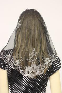 Silver Black Spanish style veil mantilla Catholic church chapel lace Mass Rose-L Mantilla Veil, Lace Veils, Bridal Veils, Wedding Veils, Catholic Veil, Catholic Beliefs, First Communion Veils, Chapel Veil, Lace Dress