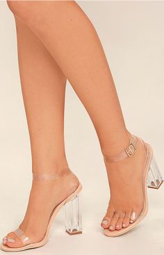 We can't help but want to strut in the Clear to See Transparent Lucite Heels! Clear lucite forms a slender toe strap, and matching ankle strap that wraps and secures around the ankle with a gold buckle. #lovelulus