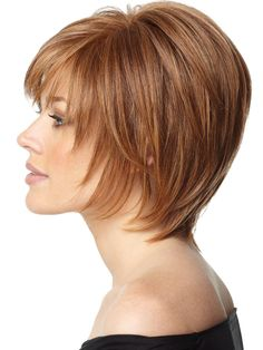 If you're looking for Short Auburn Straight Human Hair Wigs, Howigs is the perfect choice. Order Human Hair Wigs at professional online shop. Short Hair With Bangs, Short Hair With Layers, Short Hair Cuts For Women, Soft Layers, Medium Hair Styles, Curly Hair Styles, Natural Hair Styles, Ladies Hair Styles, Hair Medium