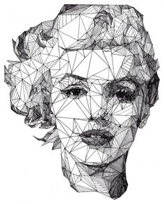 Geometric portrait of Marilyn Monroe Art And Illustration, Illustrations, Portrait Illustration, Arte Pop, Pop Art, Inspiration Art, Art Graphique, Creative Portraits, Creative Art