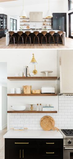 Kitchen Design Idea – Open Shelving Photos) // The open shelving in this kitchen puts things like beautiful cake stands, cutting boards, cookbooks, as well as daily essentials, like butte… Kitchen Wall Shelves, Kitchen Backsplash, Kitchen Cabinets, Open Shelving In Kitchen, Kitchen Sink, Sink Shelf, Kitchen Wood, Oak Cabinets, Backsplash Ideas