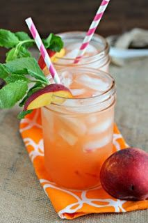 Peach Lemonade (for 8)    4 cups water  2 cups coarsely chopped peaches  3/4 cup sugar  1 cup lemon juice (about 4 to 6 lemons)  1 peach, cut into wedges  Mint for garnishment