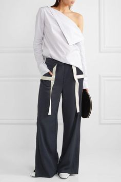 136c6aa1b67 Dion Lee - Whitewash canvas-trimmed twill wide-leg pants