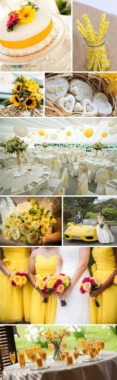 Spring is a joyous time filled with daffodil blooms and ever increasing hours of sunshine. Yellow looks particularly strong against a white backdrop so make sure your chosen shade really stands out against crisp white linens, pristine white icing - and of course your stunning white wedding dress