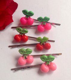6 Cherry Bobby pins Pin-up hair pins Rockabilly by ThomiGirlPink