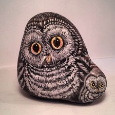 Owl and chick painted rock by Jennifer Livingstone
