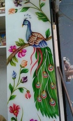 Glass Etching Designs, Glass Painting Designs, Stencil Designs, Paint Designs, Fancy Mirrors, Etched Glass Door, Ganesha Tattoo, Pooja Room Door Design, Peacock Art