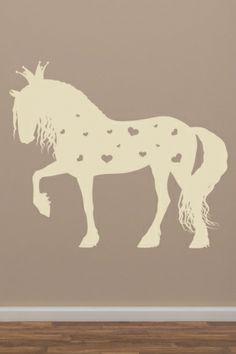 Amazing Wandtattoo Pferd mit Herzen und Krone von besser kleben de ist eine s sse Wanddekoration f r die kleine Prinzessin